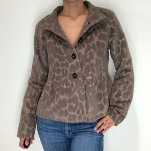 Rebecca Taylor Leopard Textured Wool-Angora Peplum